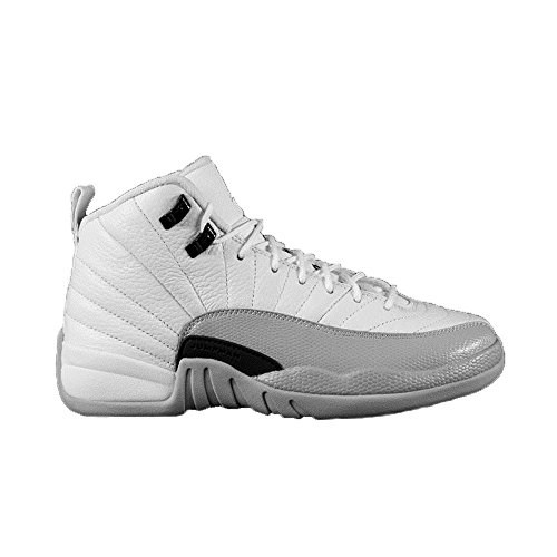 NIKE Air Jordan 12 Retro GG Basketball Sneaker White/Gray, Color White, EU Shoe Size:EUR 40]()