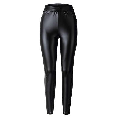 58694dc833c6c TSWRK Women's High Waisted Faux Leather Leggings Skinny Coated Pants  (Black, Small)