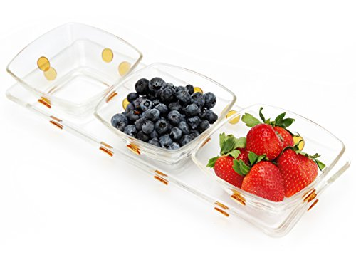 Decorative Glass Centerpiece Serving Set With 3 Square Bowls and Matching Rectangular Tray Designed with Gold Dots (Corona Extra Crystals)