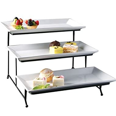 Perlli 3 Tier Rectangular Serving Platter- Three Tiered Cake Tray Stand- Food Server Display Plate Rack For Finger Food, Appetizers, Treats And More- Elegant White Cake Display Great For Every Party