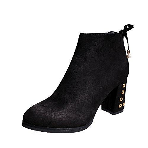 KHSKX-Talón Talón Zapatos De Tacon Alto De Mujer Martin Botas Tubo Corto Botas Ingles Viento Primavera Y Otoño Invierno Botas Botas De Gamuza De Algodón Único black