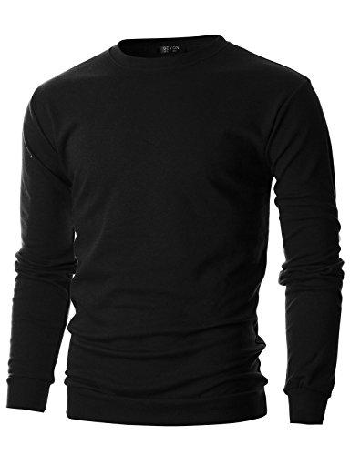 Crewneck Lightweight Sweatshirt (GIVON Mens Slim Fit Lightweight Crew Neck Sweatshirt/DCS006-BLACK-M)