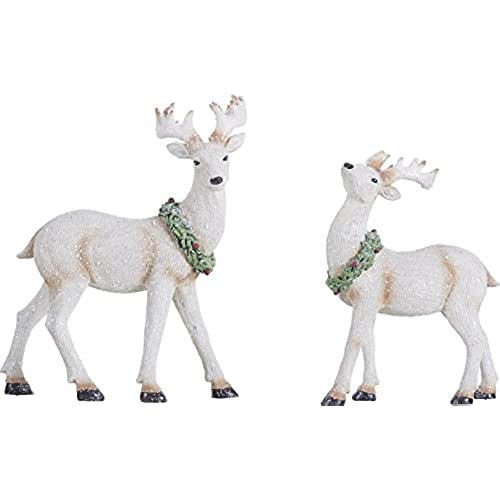 white reindeer and wreath 11 x 85 inch resin stone christmas figurines set of 2 - White Deer Christmas Decoration