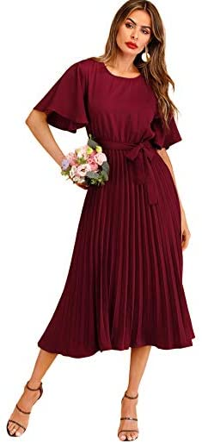 Milumia Women`s Elegant Belted Pleated Flounce Sleeve Long Dress
