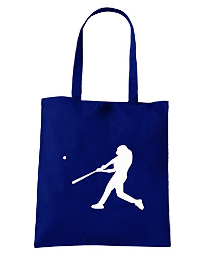 T-Shirtshock - Bolsa para la compra SP0016 Baseball Player Silhouette Maglietta Azul Marino