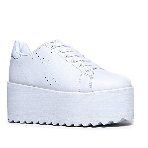 YRU Lala - White High Platform/Wedge Sneaker - Size: 9 -
