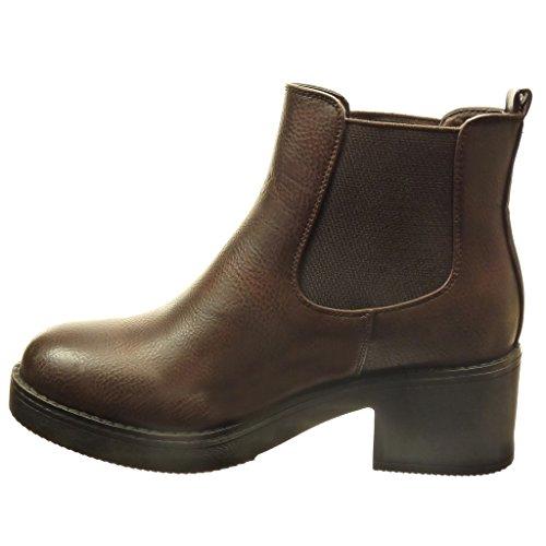 Angkorly - Scarpe da Moda Stivaletti - Scarponcini chelsea boots zeppe donna Tacco a blocco tacco alto 5 CM - Marrone