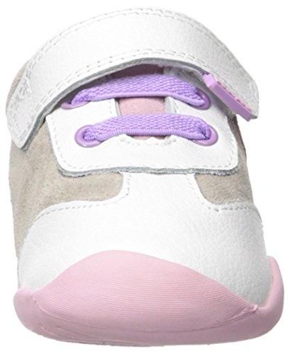 pediped Girls' Claudia Sneaker, White/Pink, 22 EU(6-6.5 E US Toddler)