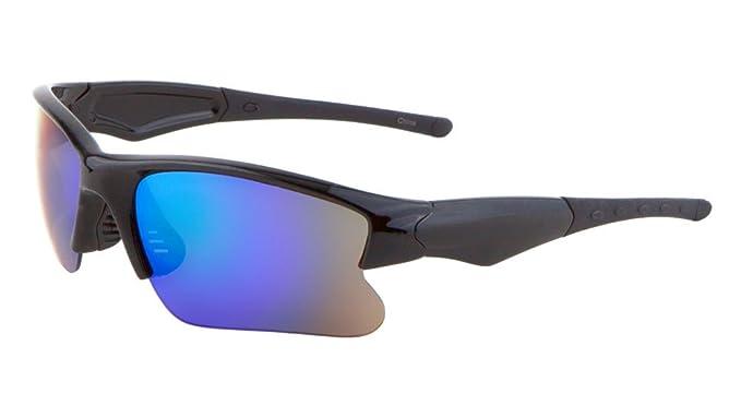 c6f91fcc0d8 Men Sport Wrap Around Sunglasses Driving Motocycle Sport Eyewear  (Black BlueGreen