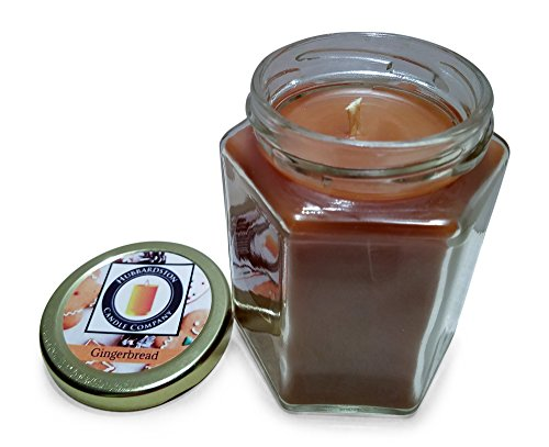 Hubbardston Candle Company Gingerbread Scented 100% Beeswax Jar Candle, 8 Ounce Hand Poured