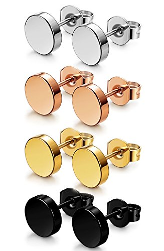 FIBO STEEL 4 Pairs Stainless Steel Stud Earrings for Men Women Ear Piercings Set,3-8MM Available