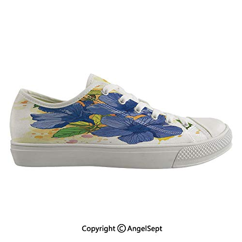 Durable Anti-Slip Sole Washable Canvas Shoes 17.32inch Hibiscus Flourishes Exotic Foliage Organic Bouquet Watercolor,Violet Blue Mustard Green White Flexible and Soft Nice Gift