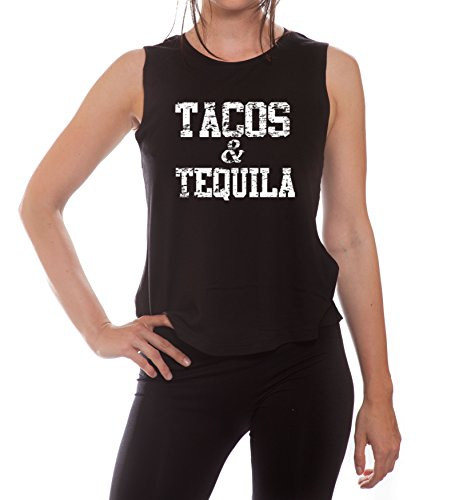 YM Wear Women's Tacos & Tequila White Muscle Tank Top Large Black