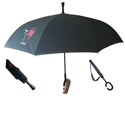Kona Reverse/Inverted Opening Umbrella with Tote Carrying Bag~ 60 MPH Windproof Travel Umbrella ~ Ninja Grip Handle (Umbrella Grill Bbq)
