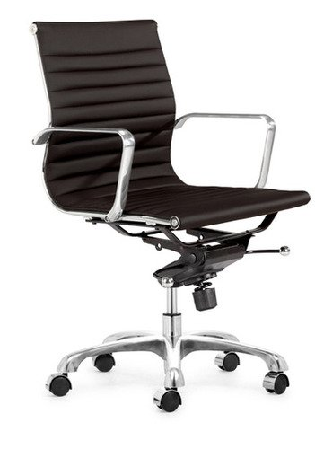 Modern Ribbed Mid Back Management Office Chair - Espresso ()