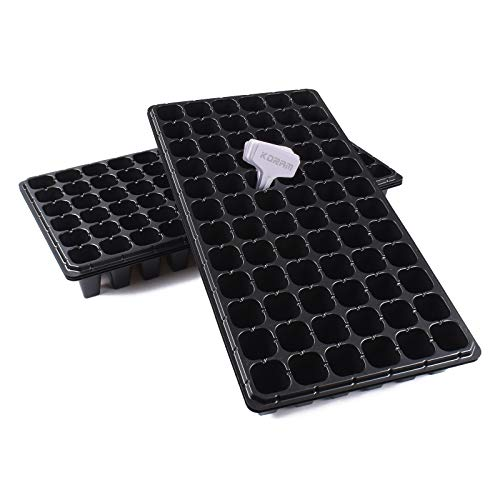 KORAM 5-Pack Seedling Starter Trays Plant Germination Kit 72-Cell Per Tray Seed Starter Kit with Drain Holes for Planting Seedlings, Greenhouse, Wheatgrass, Microgreens