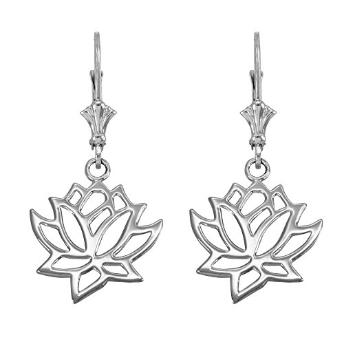 Lotus Flower Leverback Earrings in Polished 14k White Gold