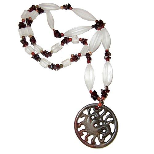 Jasper Necklace Medley 55 Red Brown Dragon Medallion Pendant, Frosty Snow Quartz Garnet Energy Power Crystal Goddess (Jasper Goddess Pendant)