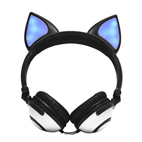 Birdfly Lovely Network Anchor Flashing Glowing Fox Ear Headphone Gaming Headset LED Light Earphone (Black)