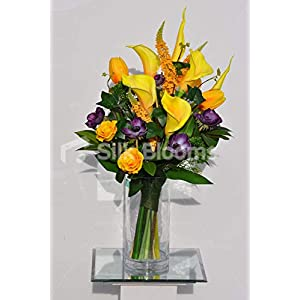 Silk Blooms Ltd Artificial Yellow Dyed Calla Lily and Purple Anemone Arrangement w/Leaves and Foliage 100