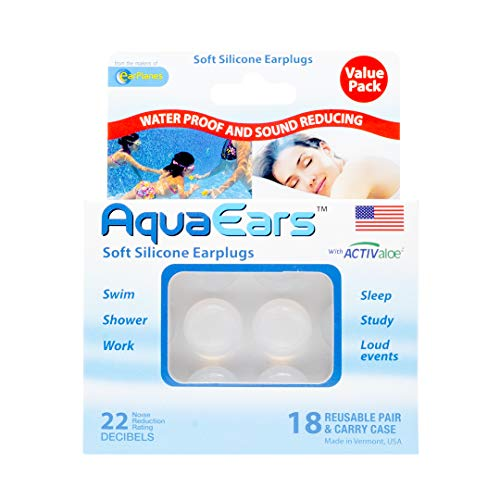 Aqua Ears Soft Silicone Earplugs 18 Pair