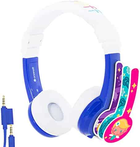 Explore Foldable Volume Limiting Kids Headphones - Durable, Comfortable & Customizable - Built in Headphone Splitter and In Line Mic - For iPad, Kindle, Computers and Tablets - Blue