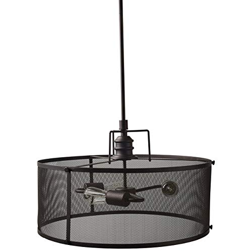 Stone & Beam Hobbs Mesh Cage Pendant Ceiling Chandelier Fixture With 3 Light Bulbs - 20 Inch Shade, 20.5 - 62.5 Inch Cord, Oil-Rubbed - Shade Ceiling Mesh Pendant