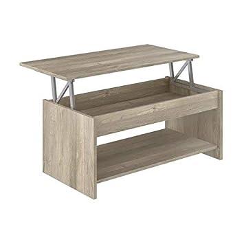 Movian Table Basse Avec Plateau Relevable Et Petite Etagere Aggol Modern 50 X 100 X 44 Effet Chene