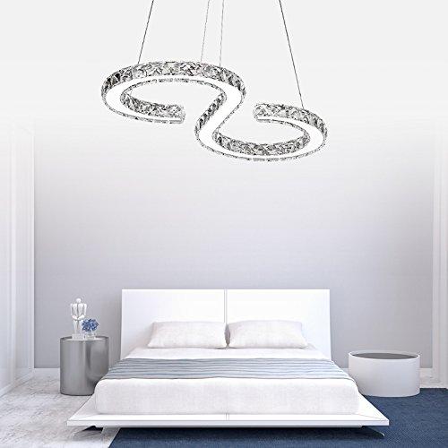 VINGO® 36w LED Kronleuchter Deckenleuchte kaltweiß Luxus Kristall Hängeleuchte für Wohnzimmer 57028030MM