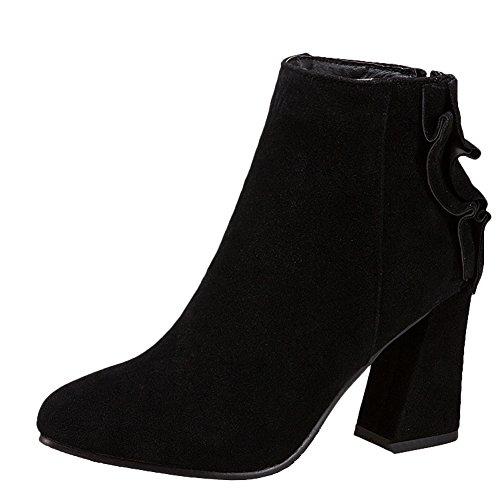 Carolbar Womens Zip Cold Weather Retro Spring & Autumn High Heel Short Boots Black LC4rg1xB