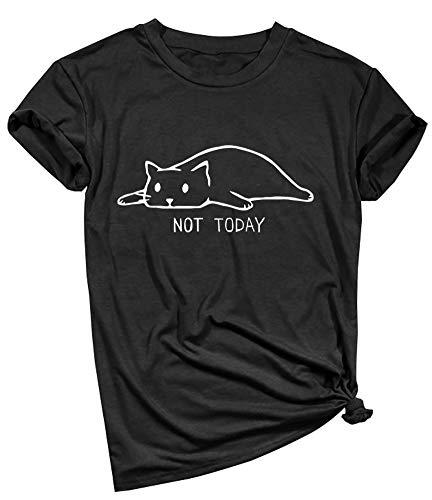 YITAN Women Not Today Cat Cute Graphic Tee Shirts(Gift Ideas) Black XX-Large