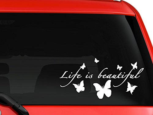 Life is beautifu butterflies silhouette nice design car truck SUV window laptop Kitchen wall macbook decal sticker Approx 8x4 inches each white