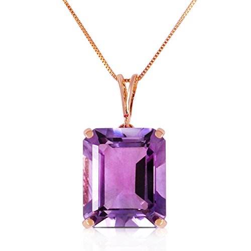 ALARRI 14K Solid Rose Gold Necklace w/ Octagon Purple Amethyst with 18 Inch Chain Length Designer Si2 Necklace