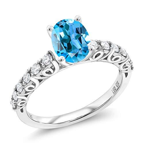 (1.86 Ct Oval Swiss Blue Topaz G/H Lab Grown Diamond 10K White Gold Ring (Size 7))