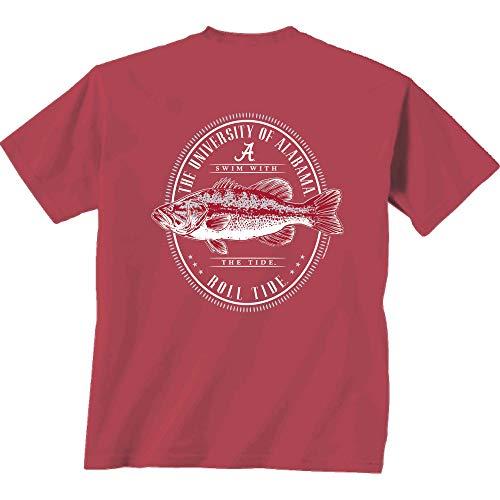 NCAA University of Alabama Crimson Tide Unisex Oval Fish Tee-Chili-XL