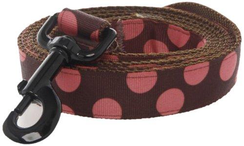 Max & Zoey Polka Dot Dog Leash, 5-Feet, Brown Salmon