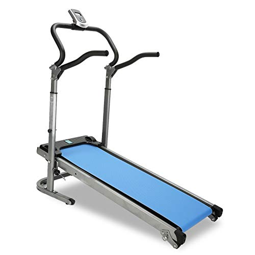 Homgrace Folding Manual Treadmill Running Machine with Incline Settings (Blue)