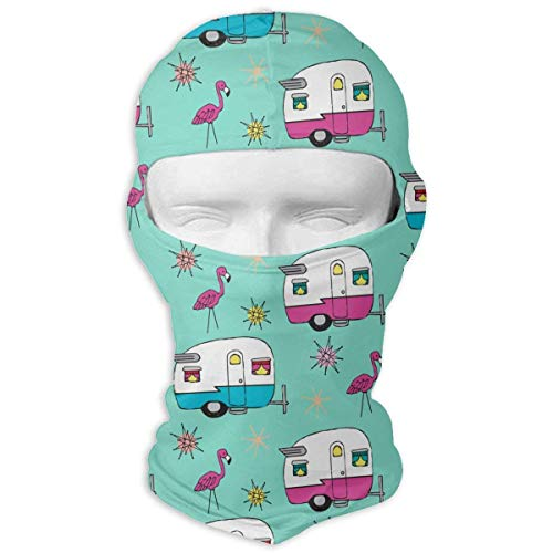 Mcdorty Printed Duct Tape Happy Camper Balaclava UV Protection Windproof Ski Face Masks for Cycling Outdoor Sports Full Face Mask Breathable -