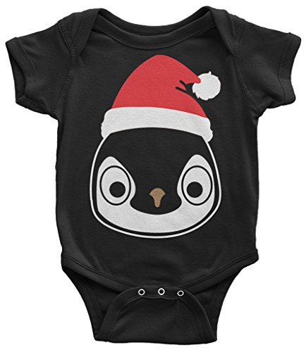 Threadrock Baby Santa Hat Penguin Infant Bodysuit 6 Months Black