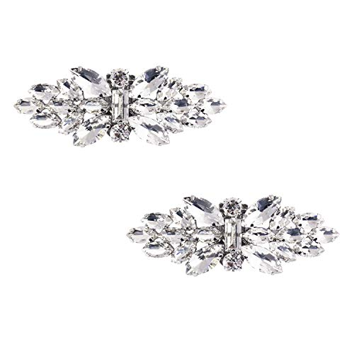 ElegantPark DF Women Rhinestones Bow Decorative Shoe Clips Jewelry Decorations Charms Wedding Party Accessories Silver 2 Pcs - Ons Rhinestones