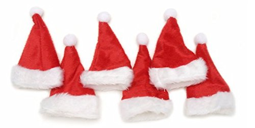 (Mini Christmas Hat Red and White 5 1/2 Inches Tall X 3 Inches Wide X 6 Pieces Per Package 2510-409)