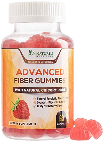 Fiber Gummies for Adults Extra Strength Inulin Gummy 300mg – Natural Dietary Fiber Supplement for Digestion, Heart & Natural Weight Support – 60 Gummies