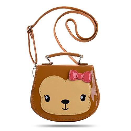 Ava & Kings' Girls Glossy PU Faux Leather Cute Animal Purses - Adjustable Strap for Crossbody Bag, Shoulder, and Top Handle Handbag - Brown Monkey
