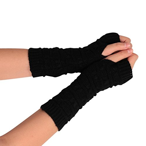 Charberry Fashion Arm Fingerless Winter Unisex Soft Warm Mitten Gloves (Black)