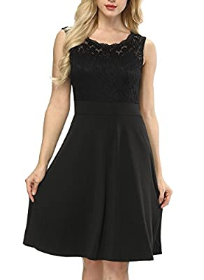 Amyfeel Women's Sleeveless Cocktail Dress, 1950s Vintage Dress with Lace Neck