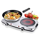 SUNAVO Electric Infrared Burner Ceramic Double Hot Plate Portable Stainless Steel Cooktop