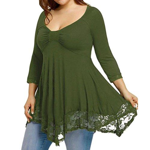 Women Plus Size Clothing, Misaky Long Sleeve Lace Blouse Shi
