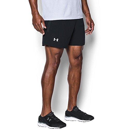 Under Armour Mens Launch 5 Shorts, Black /Reflective, Medium