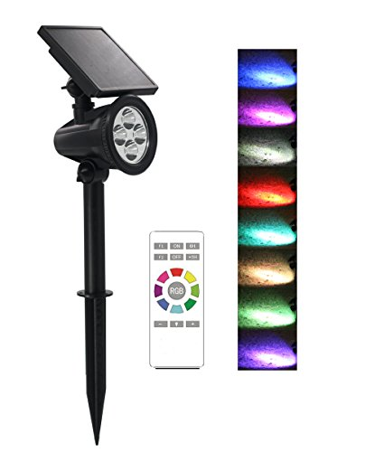 Suneng Power Solar Spot Lights Outdoor Color Change Remote Control Landscape Tree Spotlights Waterproof Security LED for Garden Lawn Yard Step Walkway Pathway Auto on/Off