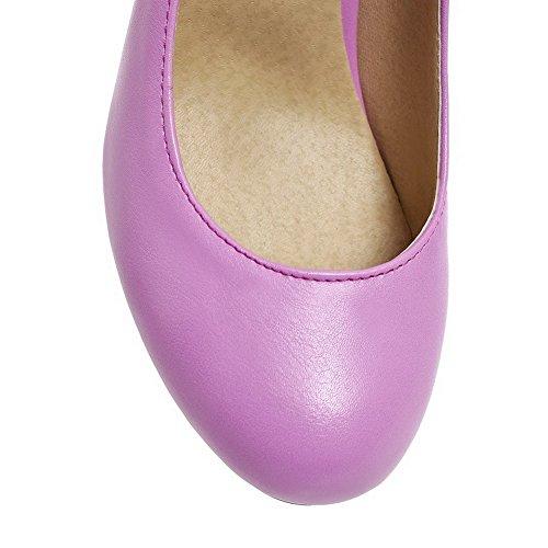 Tire Odomolor Couleur Unie PU Cuir Violet Légeres Femme à Rond Talon Correct Chaussures qw8qFr